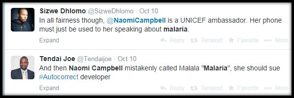 Naomi Campbell malaria